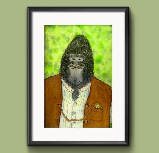 Gorilla picture, signed illustrative print