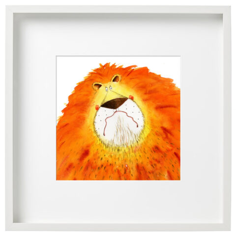 Framed Grumpy Lion Limited Edition Print