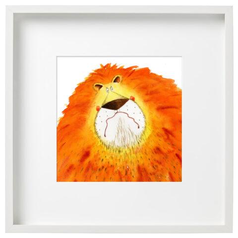 Framed Grumpy Lion Limited Edition Print