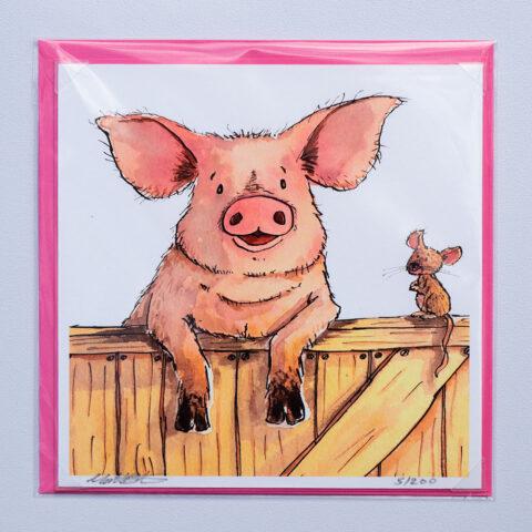 Farm Pig Card by Matt Buckingham