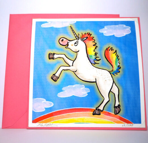 Unicorn and rainbow card