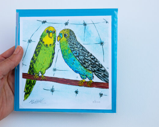 Budgies Print and greeting card