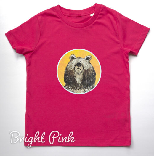 Kids Organic Bear T-shirt - Pink