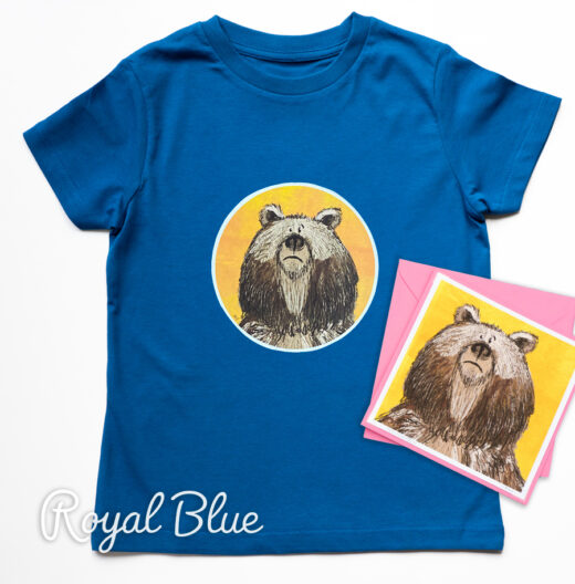 Organic Bear T-shirt and Card - Blue