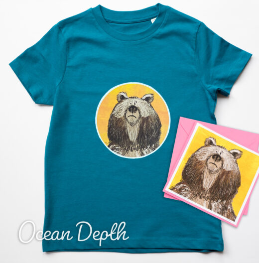 Organic Bear T-shirt and Card - Ocean