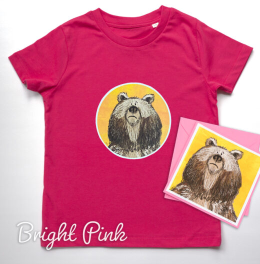 Organic Bear T-shirt and Card - Pink