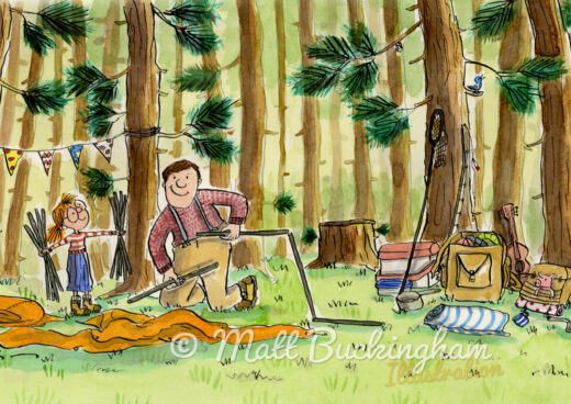 Camping with Dad - A print perfect for fathers