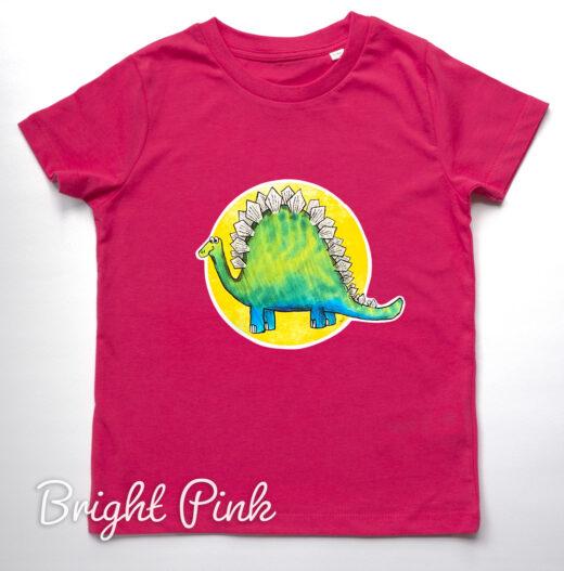 Organic Dinosaur t-shirt - bright pink