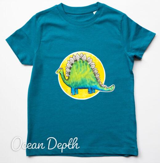 Organic Dinosaur t-shirt - ocean depth