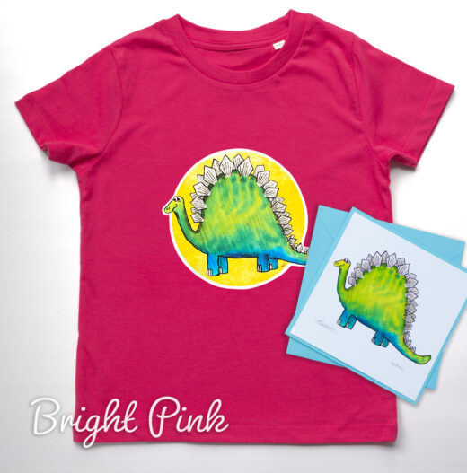 Dinosaur Organic T-shirt and Card Set - pink