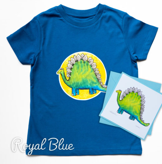Dinosaur Organic T-shirt and Card Set - blue