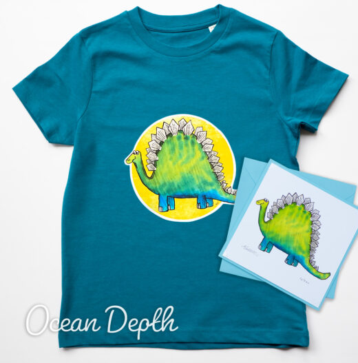 Dinosaur Organic T-shirt and Card Set - ocean