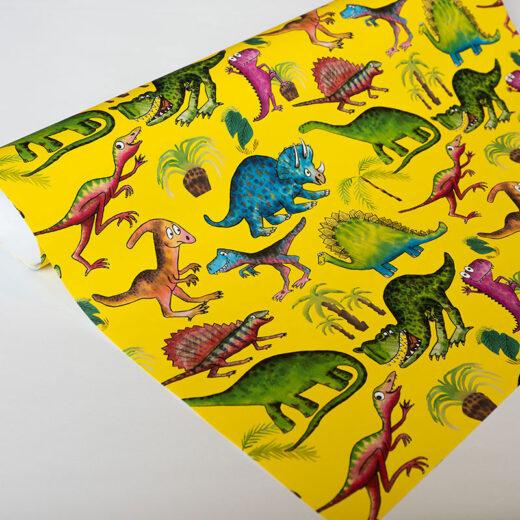 Unique Children's Gift Wrap Dinosaur design