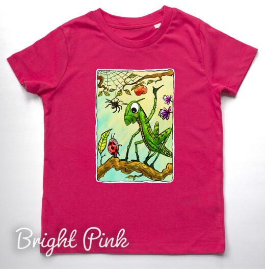 grasshopper t-shirt by Matt Buckingham Bright Pink