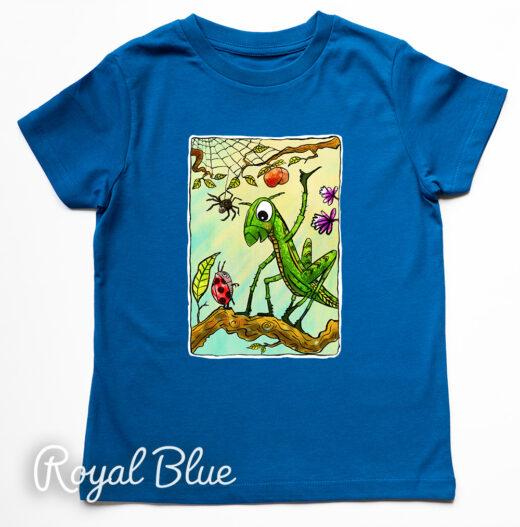 grasshopper t-shirt by Matt Buckingham Royal Blue