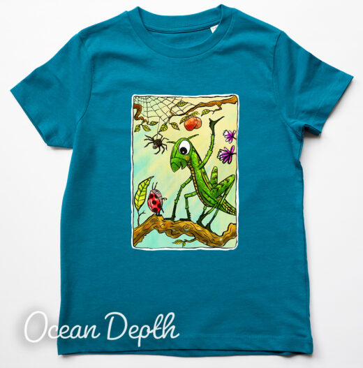 grasshopper t-shirt by Matt Buckingham Ocean Depth