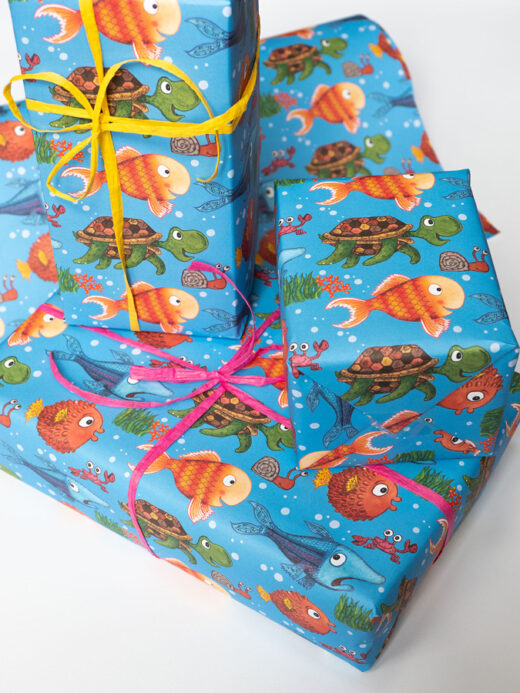 Fish themed wrapping paper