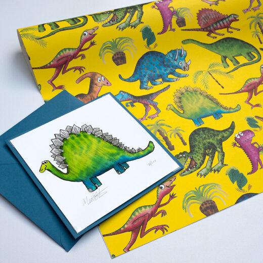 Dinosaur card and gift wrap